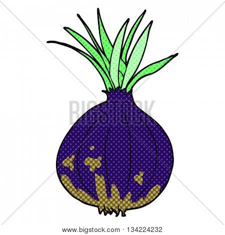freehand drawn comic book style cartoon onion