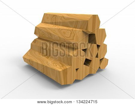 3d illustration of wooden logs. icon for game web. wooden texture color. white background isolated. simple to use. medieval thing. low poly style. fire wood