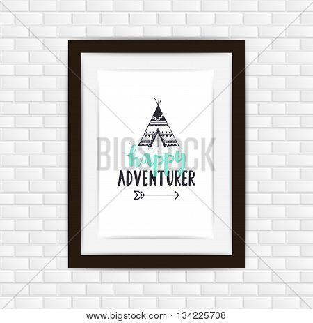 Vector Outdoor Poster With Happy Adventurer Lettering And Teepee, Arrow. Photo Picture Frame Design