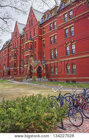 Bicycles And Harvard Computer Society In Harvard Yard