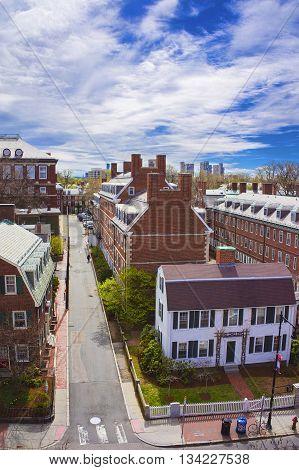 Cambridge, USA - April 29, 2015: Aerial view on John F Kennedy Street in Harvard University Area in Cambridge Massachusetts USA.