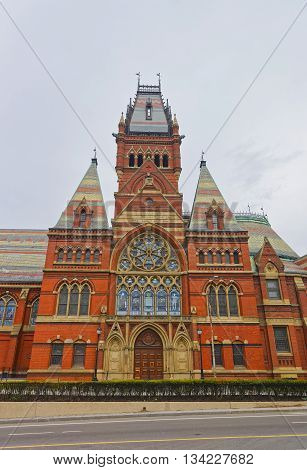Cambridge, USA - April 29, 2015: Transept of Memorial Hall of Harvard University in Cambridge Massachusetts USA. It was built in honor of men who died during the American Civil War.