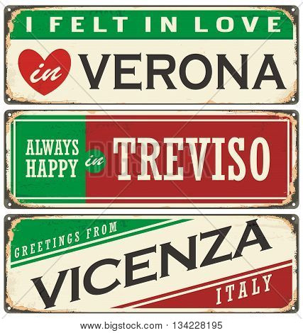 Italian cities retro metal signs set. Vintage vector souvenirs or postcard templates with places in Italy.