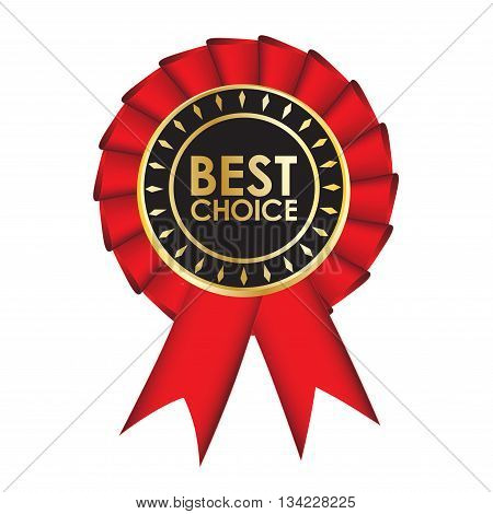 Best choice, realistic red fabric award ribbon, isolated on white background. Badge. Vector illustration