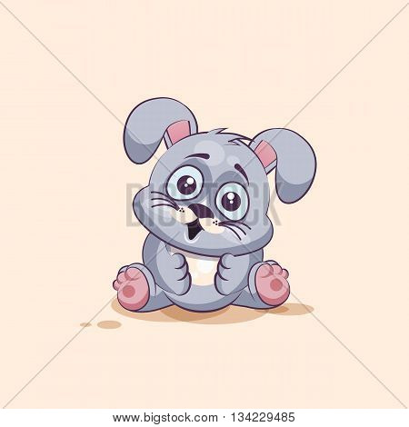 Vector Stock Illustration isolated Emoji character cartoon Gray leveret surprised with big eyes sticker emoticon for site, info graphic, video, animation, websites, e-mails, newsletters, reports, comics