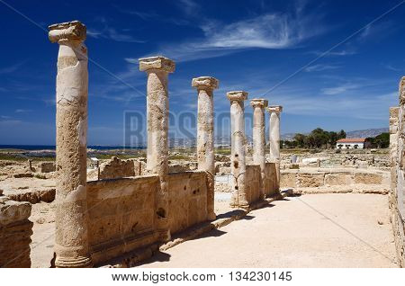 Ancient columns of temple ruins in archaeological park Tombs of the Kings ,Paphos,Cyprus, UNESCO heritage site
