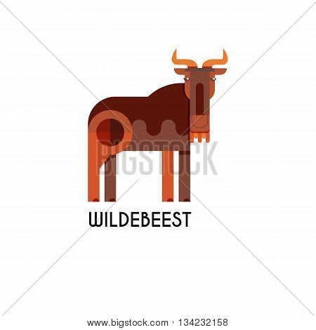 Wildebeest made in unique geometrical flat style. Flat design template animal logo. Isolated icons for your design.