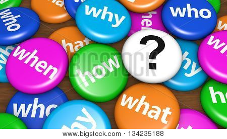 Customers questions concept with question words and question mark sign on colorful pin badges 3d illustration.