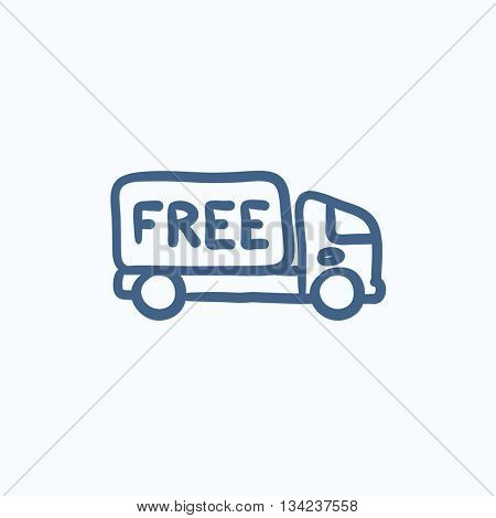 Free delivery truck vector sketch icon isolated on background. Hand drawn Free delivery truck icon. Free delivery truck sketch icon for infographic, website or app.