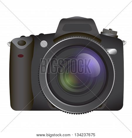 Black Professional SLR camera, photocameraon white background