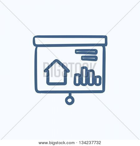 Real estate presentation on projector screen vector sketch icon isolated on background. Hand drawn Presentation on projector screen icon. Presentation sketch icon for infographic, website or app.