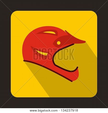 Red bicycle helmet icon in flat style with long shadow. Accessories symbol