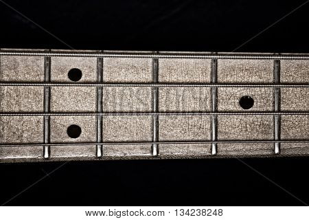 Electric bass guitar closeup focus on strings