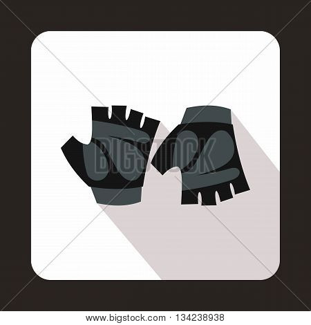 Cycling gloves icon in flat style with long shadow. Accessories symbol