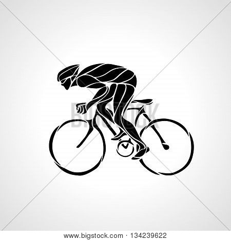Abstract creative silhouette of bicyclist. Black cyclist wave style logo. Vector illustration of bike