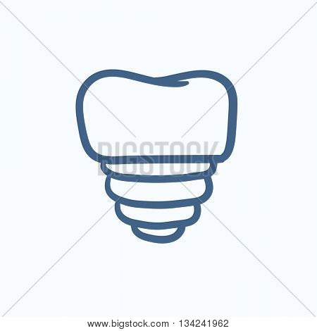 Tooth implant vector sketch icon isolated on background. Hand drawn Tooth implant icon. Tooth implant sketch icon for infographic, website or app.