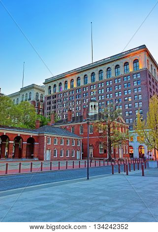 Philadelphia, USA - May 5, 2015: Congress Hall in Philadelphia Pennsylvania USA in the evening. It is the place where the US Constitution and the US Declaration of Independence were adopted.