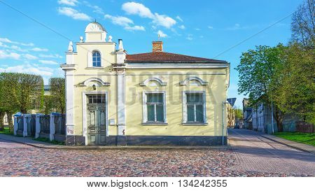 Ventspils, Latvia - May 8, 2016: Building in Ventspils in Latvia. It is a city in the Courland region of Latvia. Latvia is one of the Baltic countries