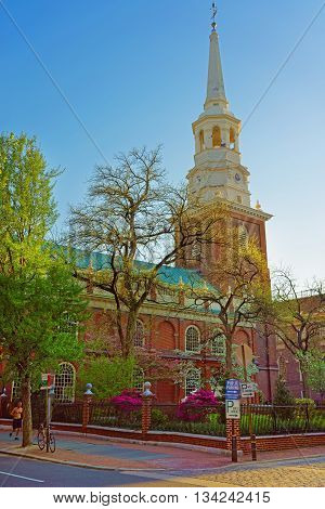 Philadelphia, USA - May 5, 2015: Independence Hall in Chestnut Street in Philadelphia in Pennsylvania USA. It is the place where the US Constitution and the US Declaration of Independence were adopted. Tourist in the street