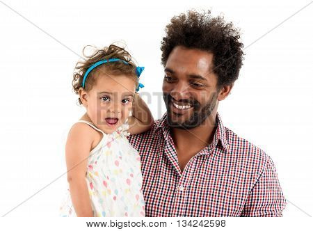 African American father and mulatto daughter together isolated on white background. Happy single parent. Man is wearing afro hair style and a color shirt.