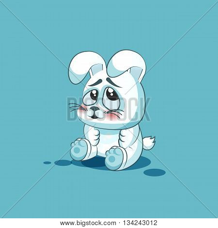 Vector Stock Illustration isolated Emoji character cartoon White leveret embarrassed, shy and blushes sticker emoticon for site, info graphic, video, animation, websites, e-mails, newsletters, reports, comics
