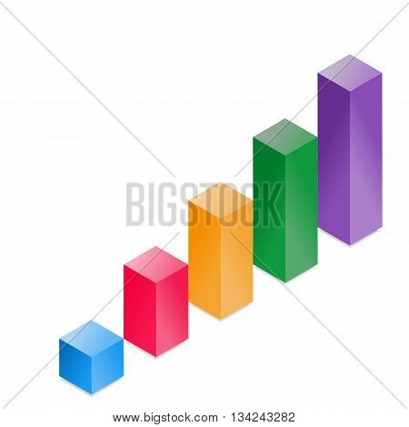 Vector 3D Cube Histogram Isolated On White Background