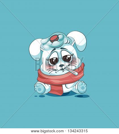 Vector Stock Illustration isolated Emoji character cartoon White leveret sick with thermometer in mouth sticker emoticon for site, info graphic, video, animation, websites, e-mails, newsletters, reports, comics