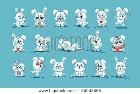 Set Vector Stock Illustrations isolated Emoji character cartoon White leveret stickers emoticons with different emotions for site, info graphic, video, animation, websites, e-mails, newsletters, reports, comics