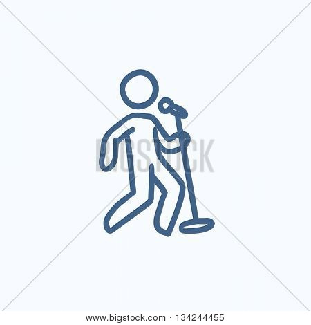 Man singing with microphone vector sketch icon isolated on background. Hand drawn Man singing with microphone icon. Man singing with microphone sketch icon for infographic, website or app.