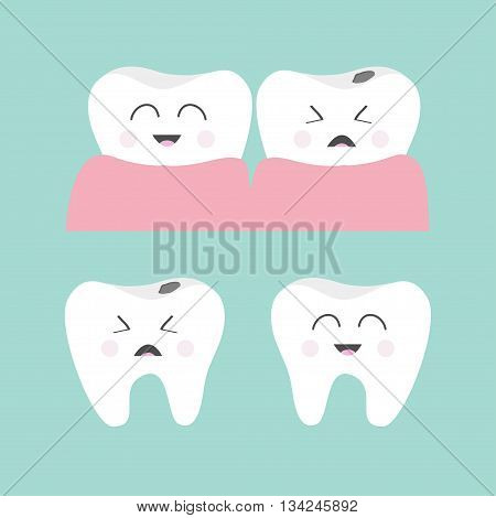 Tooth gum icon set. Healthy smiling tooth. Crying bad ill tooth with caries. Cute character set. Oral dental hygiene. Children teeth care. Tooth health. Baby background. Flat design. Vector