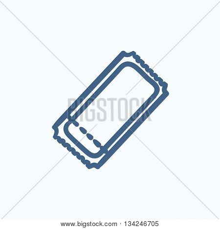 Cinema ticket vector sketch icon isolated on background. Hand drawn Cinema ticket icon. Cinema ticket sketch icon for infographic, website or app.