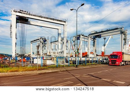Newly built Gantry Crane in port of Gdynia Poland.