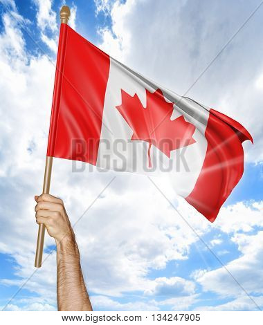 Person's hand holding the Canadian national flag and waving it in the sky, part 3D rendering