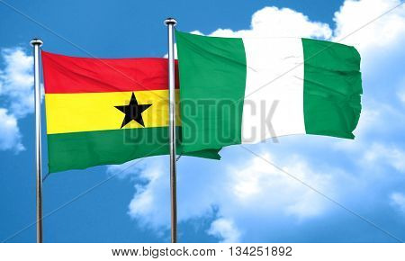 Ghana flag with Nigeria flag, 3D rendering
