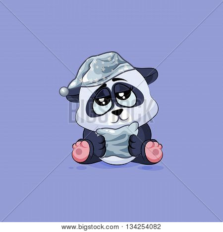 Vector Stock Illustration isolated Emoji character cartoon sleepy Panda in nightcap with pillow sticker emoticon for site, info graphic, video, animation, websites, e-mails, newsletters, reports, comics
