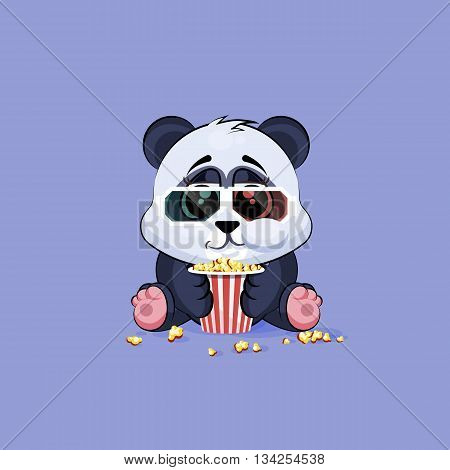 Vector Stock Illustration Emoji character cartoon Panda chewing popcorn, watching movie in 3D glasses sticker emoticon for site, infographic, video, animation, website, e-mail, newsletter, report, comic