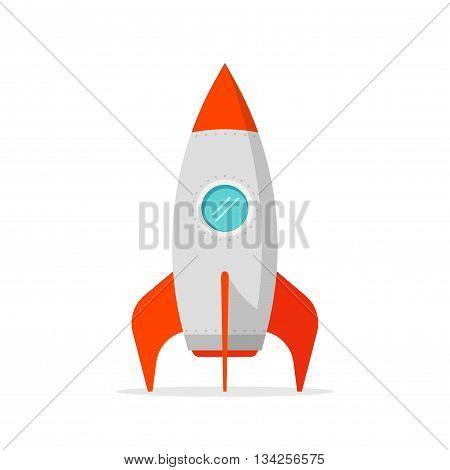 Rocket ship vector illustration isolated on white, flat cartoon rocket standing