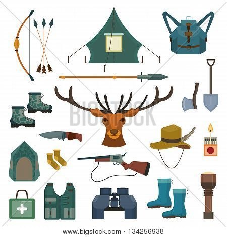 Hunting vector set. Bow and arrows, deer and spear. Tent and rubber boots, knife and gun. Travel icon collection. Flat cartoon style illustration
