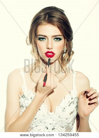 Woman With Makeup Lip Liner
