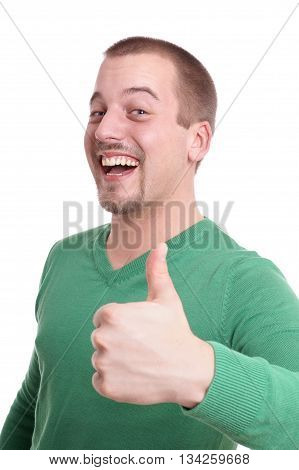 young man giving thumbs up isolated on white