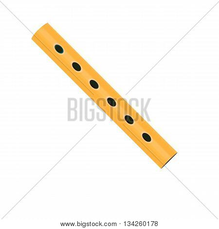 Wooden flute icon. in the style of cartoons. Flute isolated on a white background