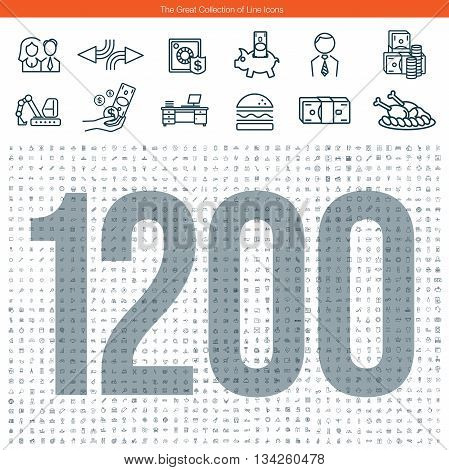 Set of 1200 line icons. The great collection abous business, education, man and woman, transport and medicine and other themes.