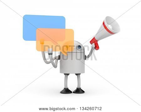 Robot with megaphone and chat bubbles. 3d illustration