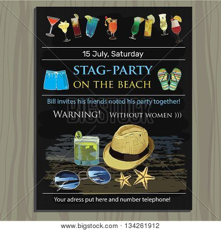 Vector illustration of stag-party invite on the beach. Holiday, vacation, invitation card, wedding invitation, party invitation, invitation template
