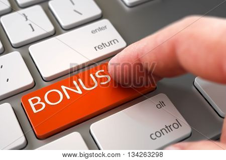 Hand Finger Press Bonus Key. Modern Keyboard with Bonus Orange Keypad. Business Concept - Male Finger Pointing Bonus Keypad on Metallic Keyboard. Bonus Concept. 3D Illustration.