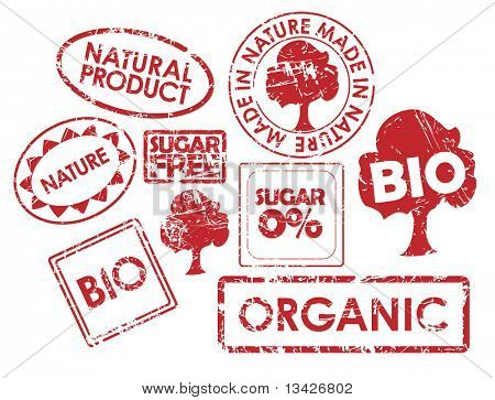 Set of stamps for organic, fresh, healthy, bio food
