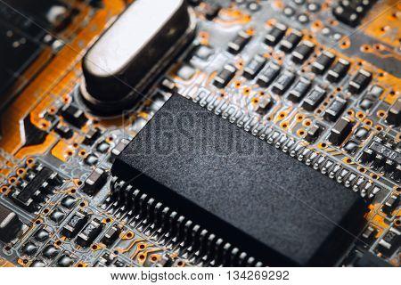 Blur electronic circuit close up computer. Bokeh electronic circuit close up computer.
