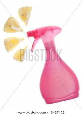 Environmentally Friendly Cleaning Bottle Spraying Lemons