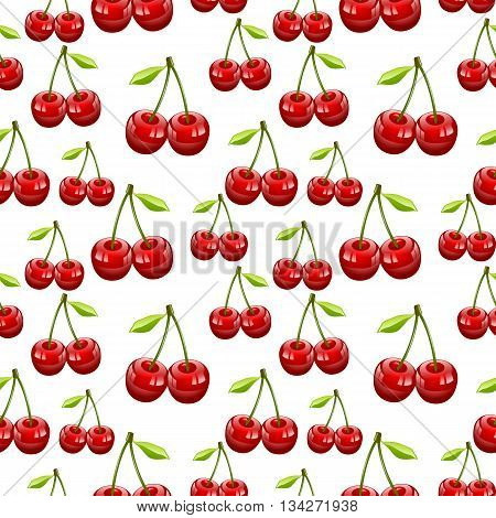 Seamless Pattern of Cherry Fruit Pattern Prunus AviumWild Cherry Sweet Cherry Bird Cherry  Gean Vector Illustration