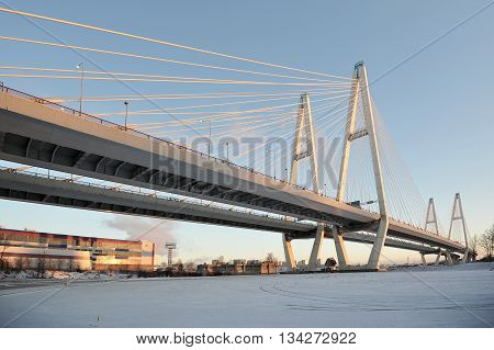 Big Obukhovsky bridge (cable-stayed) over the Neva river St. Petersburg Russia